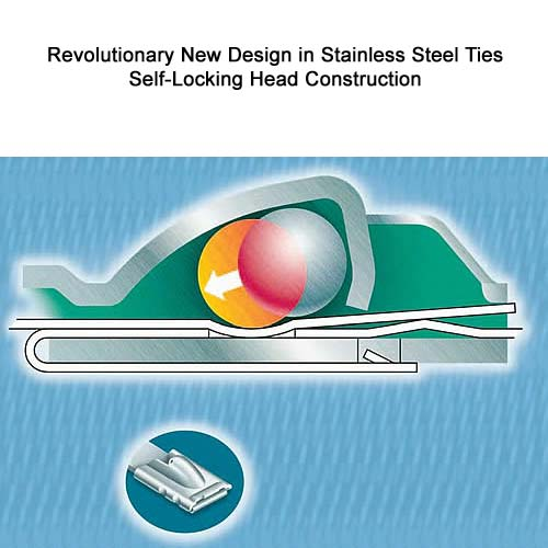 cross section drawing of Panduit PAN-STEEL Self-Locking Stainless Steel Cable Tie - icon