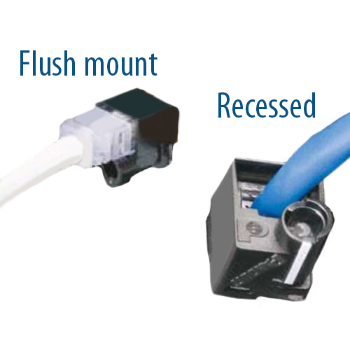 Panduit RJ45 Plug Lock-In - Flush mount vs Recessed