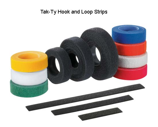 Panduit Tak-Ty Hook and Loop Cable Tie Strip rolls in assorted colors - icon