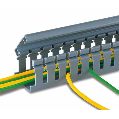 panduit Panduct Type H Hinged Cover Wide Slot Wiring Duct with cables inside in gray - icon