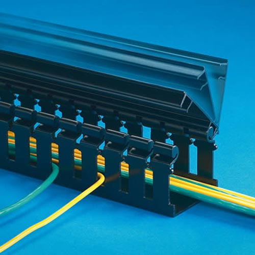 panduit Panduct Type H Hinged Cover Wide Slot Wiring Duct with cables inside in black - icon