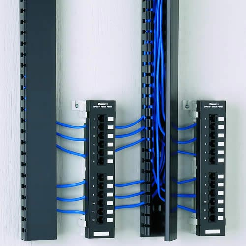 panduit Panduct Type H Hinged Cover Wide Slot Wiring Duct with cables installed on wall - icon