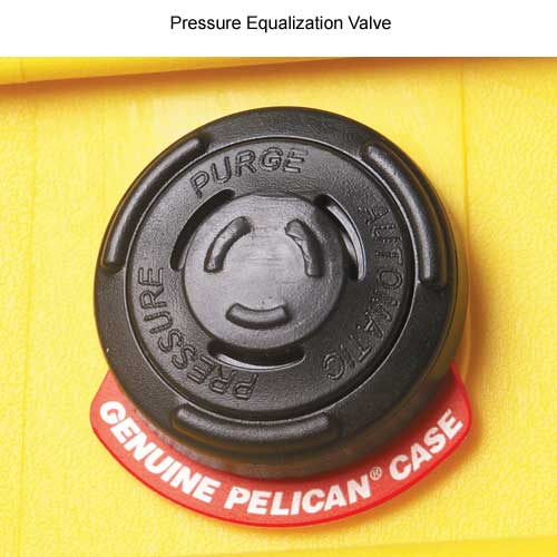 close up of pressure equalization valve on Pelican protector case icon