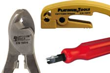 Platinum Tools cable cutters, punchdown, compression tools
