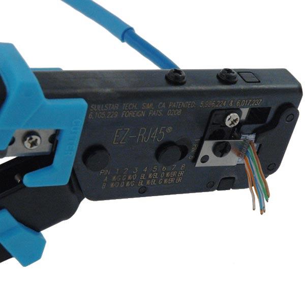 close up of Platimun Tools EZ-RJ45 Crimper in use icon