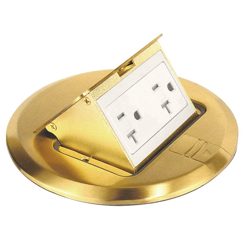 floor box, brass finish, tamper resistant