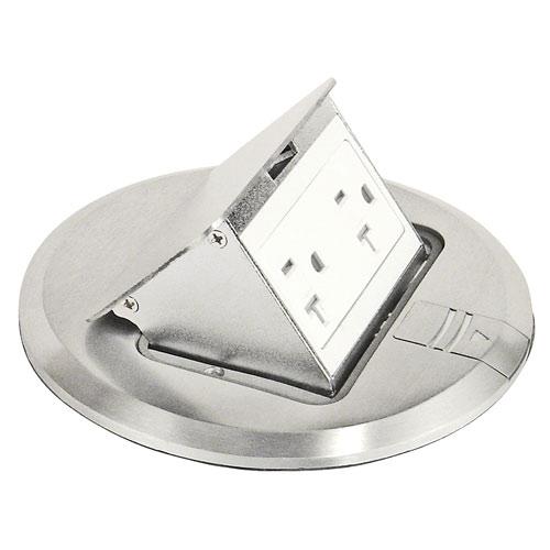floor box, stainless steel finish, tamper resistant