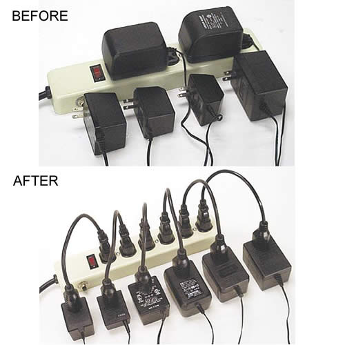 before and after use of power strip liberator on surge protector