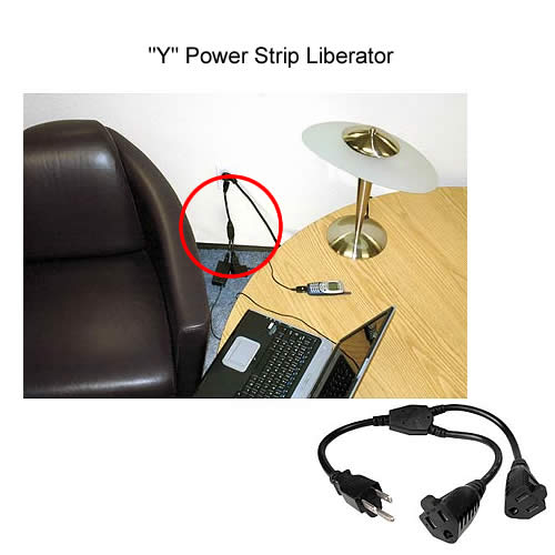 y power strip liberator in use on outlet
