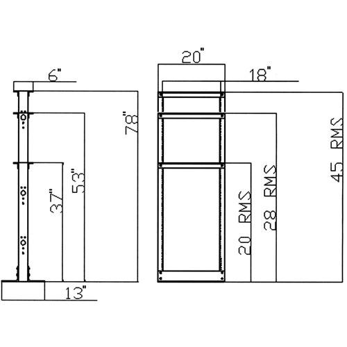 dimensions for 2 post server racks