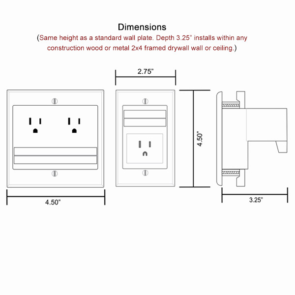 Quest In-Wall Power Cable Management Dimensions
