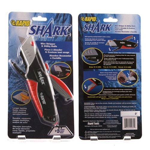 front and back of rapid tools rapid shark model 00035 utility knife packaging icon