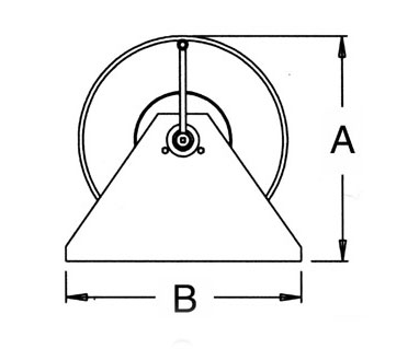 side diagram of hand crank reel