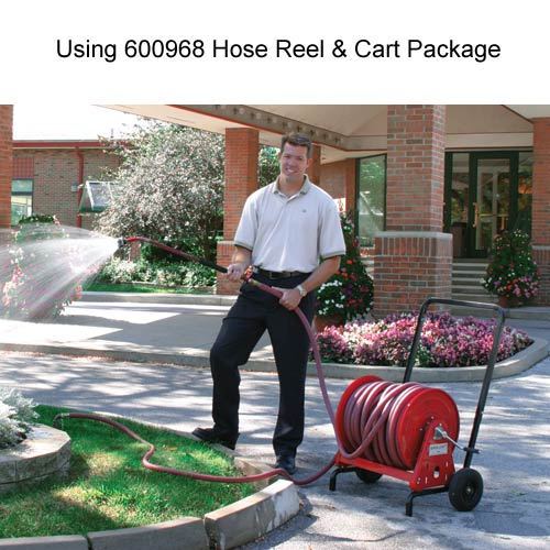 reelcraft 37000 series hose reel and cart package in use for landscaping icon