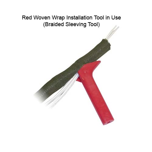 red woven wrap around installation tool in use on bentley harris roundit 2000 nx nomex sleeving - icon