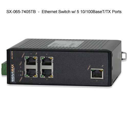 front view of Signamax Hardened Ethernet Switch with 5 ports - icon