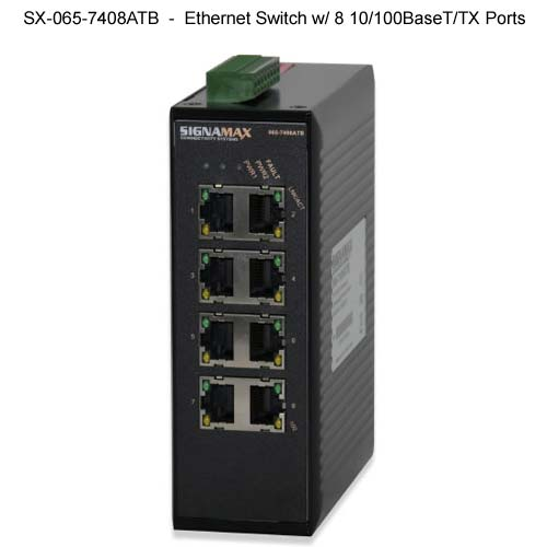 front view of Signamax Hardened Ethernet Switch with 8 ports - icon