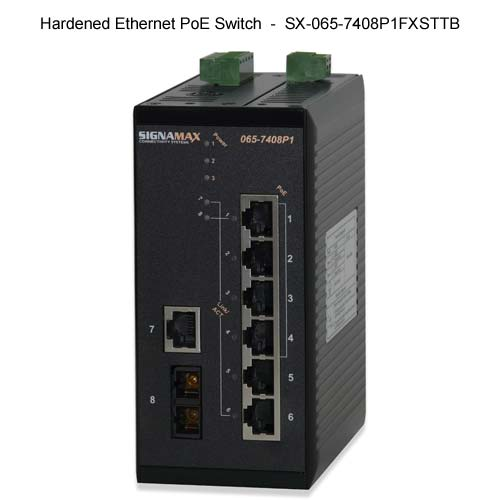 front view of signamax hardened ethernet poe switch - icon