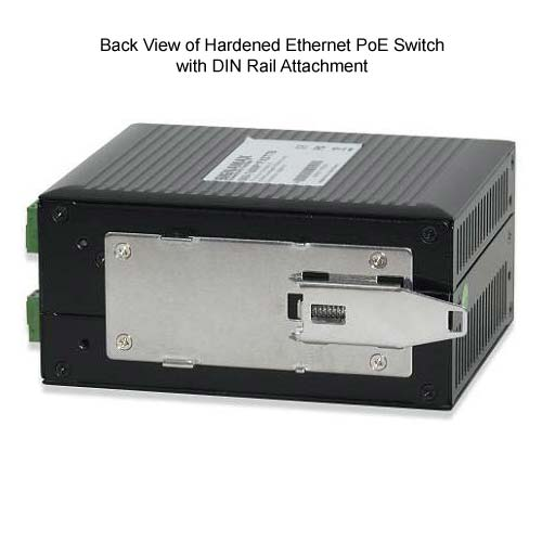 back view of signamax hardened ethernet poe switch with din rail attachment - icon