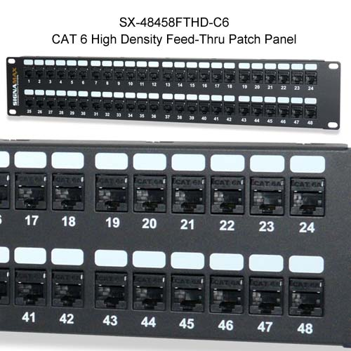 Signamax CAT 6 High Density Feed Thru Patch Panel, SX-24458FTHD-C6 - icon
