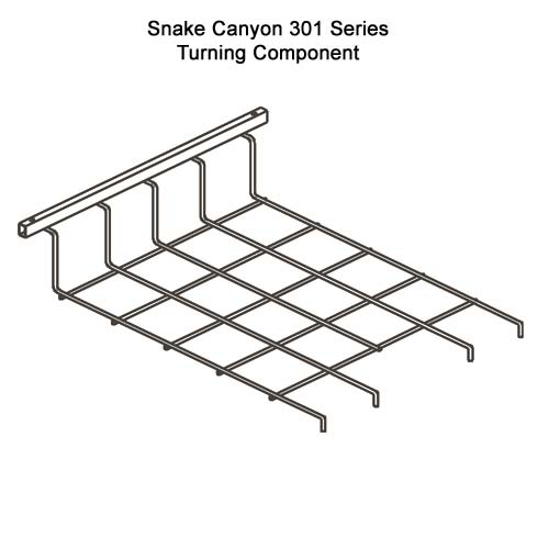 drawing of SnakeTray Snake Canyon Cable Tray turning component - icon