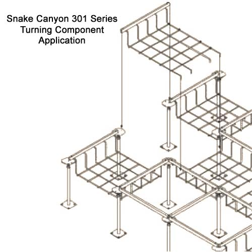 drawing of SnakeTray Snake Canyon Cable Tray turning component application - icon