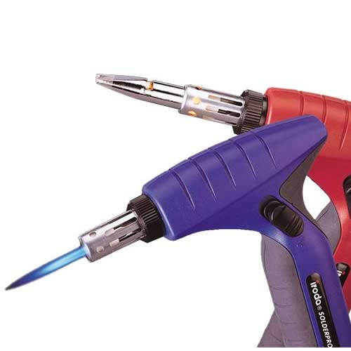 side view of solder-it pro 180 butane torches in red and blue - icon