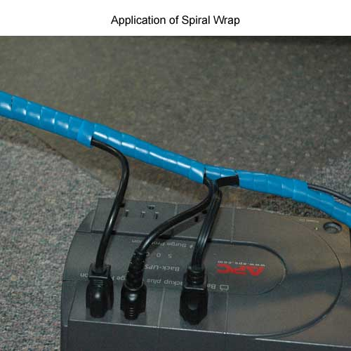 blue spiral wrap cable management in use on battery backup - icon