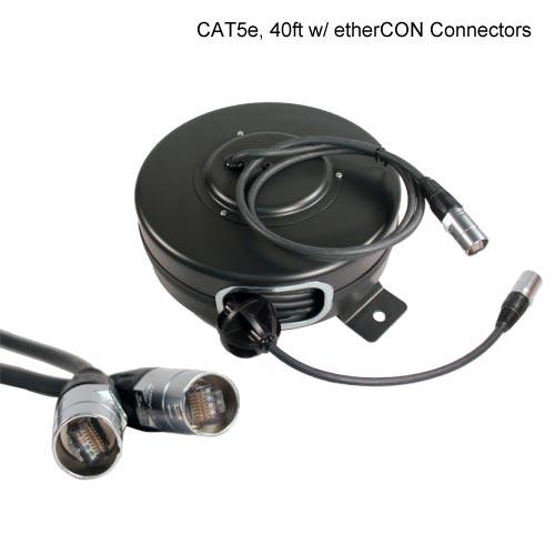 Stage Ninja retractable reel with etherCON connectors