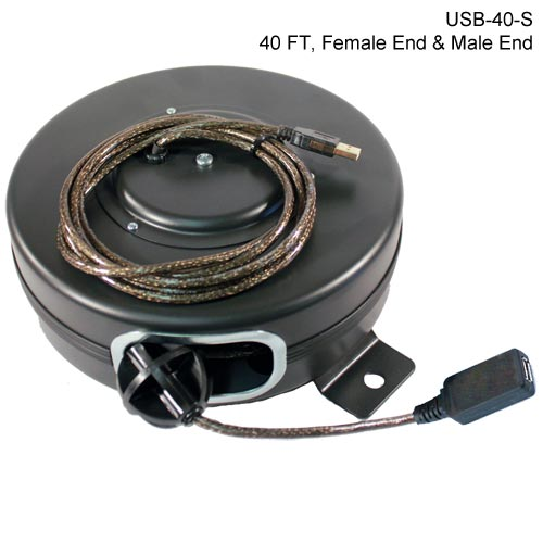 40ft retractable usb reel, male/female ends