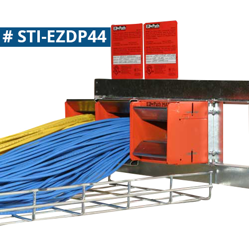 STI Firestop E-Z Path Fire Rated Cableway series 44 wall application over cable tray