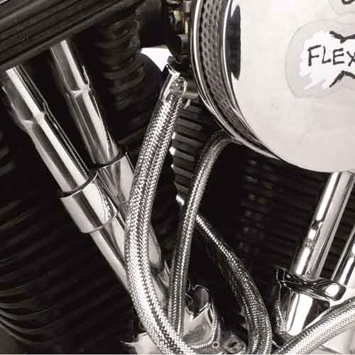 flexo chrome braided sleeving in use in engine icon