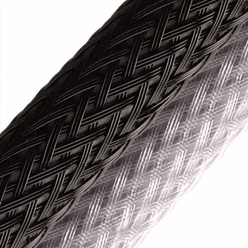 heavy wall heavy duty braided sleeving in black and silver - icon