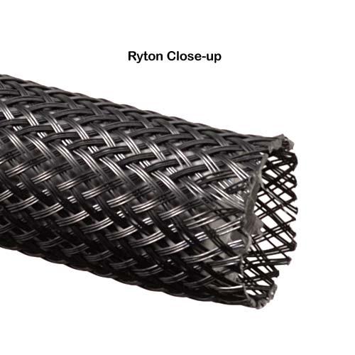 close up of black ryton expandable braided sleeving termination - icon
