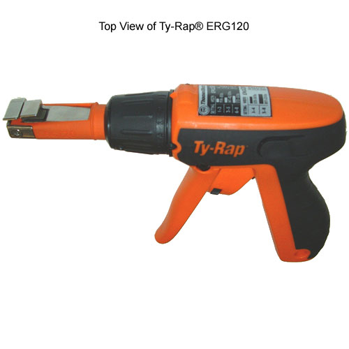top view of thomas and betts ty-rap erg120 cable tie tool icon