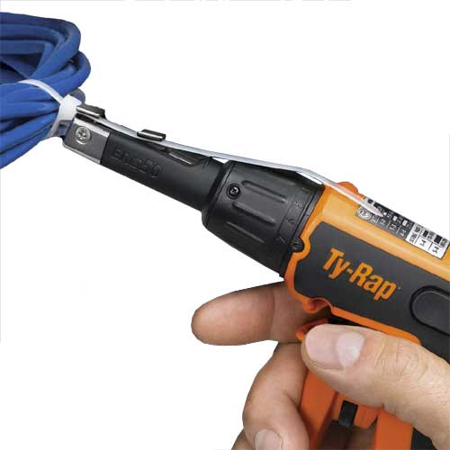 thomas and betts ty-rap cable tie tool in use on cable bundle icon