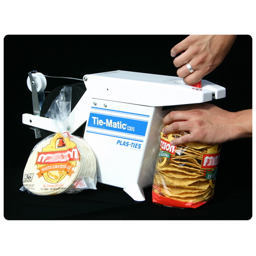 closing a package of food with a Tie-Matic