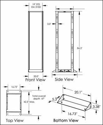 4-Post SmartRack Open Frame Rack Dimensions