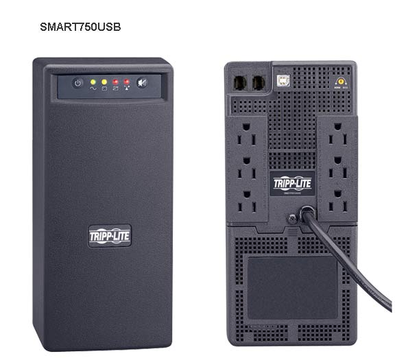 front and back view of Tripp Lite Smart USB UPS System model 750usb icon