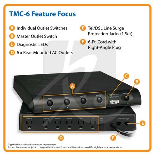 Tripp-Lite Under Monitor Surge Protector front and back - icon