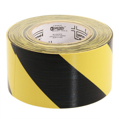 roll of tunnel tape in black with yellow stripes - icon