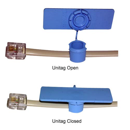 blue unitag open and closed on cable - icon