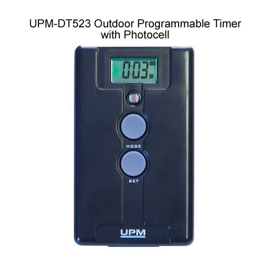 front view of UPM-DT523 Outdoor Programmable Timer with Photocell powered on icon