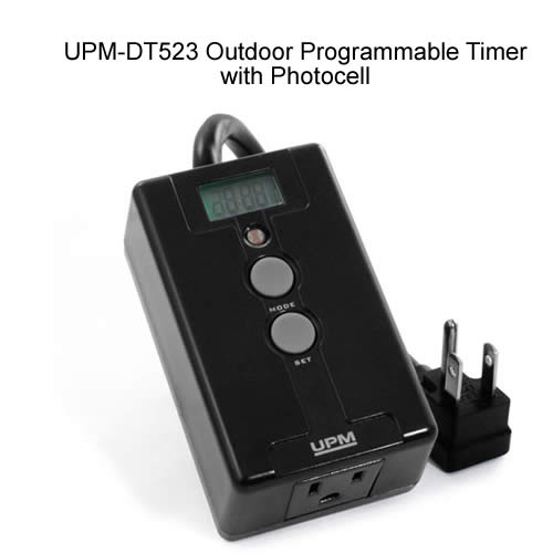 front view of UPM-DT523 Outdoor Programmable Timer with Photocell powered off icon