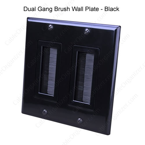 Dual Gang Brush Wall Plate black