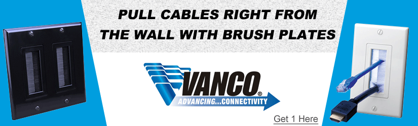 Vanco cable exit brush wall plates