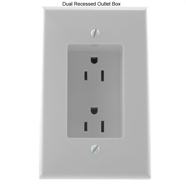 front view of Vanco International Dual Rapid Link Power dual recessed outlet box - icon