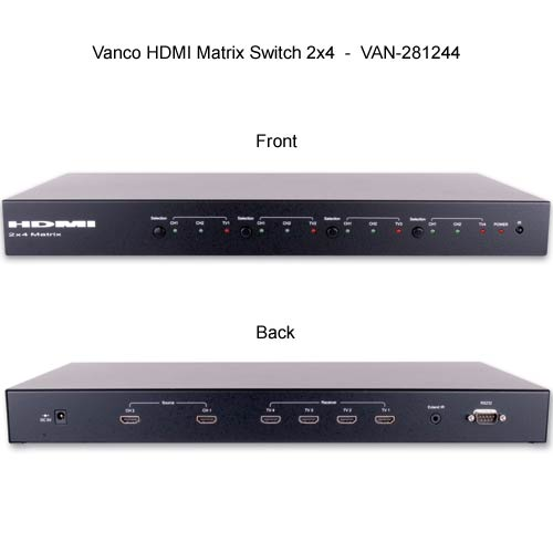 front and rear view of Vanco 2 by 2 HDMI Matrix Selector Switches - icon