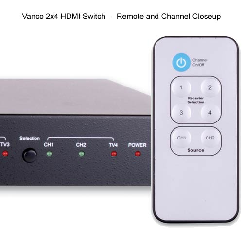 Vanco 2 by 2 HDMI Switch remote and channel close up - icon