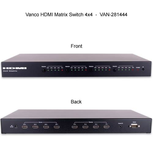 front and rear view of Vanco 2 by 4 HDMI Matrix Selector Switches - icon